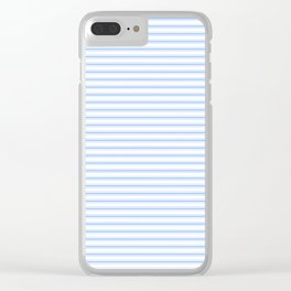Mattress Ticking Narrow Striped Pattern in Pale Blue and White Clear iPhone Case