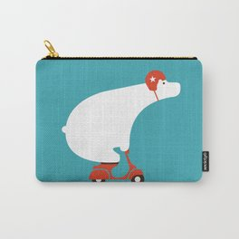Polar bear on scooter Carry-All Pouch