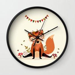 Renarde assise avec couronne Wall Clock
