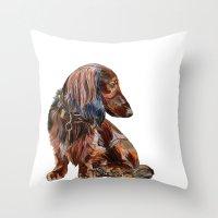 dachshund Throw Pillows featuring Dachshund by Anne Hviid Nicolaisen