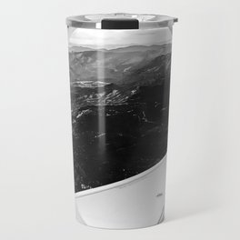Window Seat // Scenic Mountain View from Airplane Wing // Snowcapped Landscape Photography Travel Mug