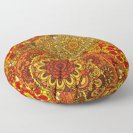 Hippie 1960's Retro Red & Gold Paisley Pattern Floor Pillow