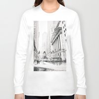 new york city Long Sleeve T-shirts featuring New York City Christmas by Vivienne Gucwa