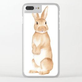 Rabbit Watercolor Clear iPhone Case
