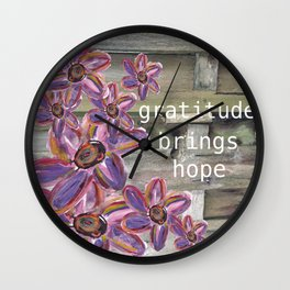 GRATITUDE BRINGS HOPE Wall Clock