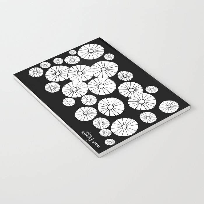 Black and White Abstract Drawing by Emma Freeman Designs Notebook
