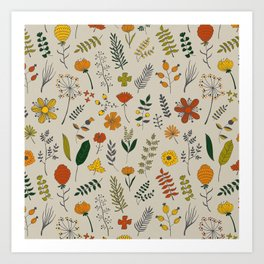 Colorful Plants and Herbs Pattern Art Print