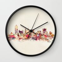 tennessee Wall Clocks featuring memphis tennessee by bri.buckley