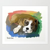 boxer Art Prints featuring Boxer by Michelle Behar