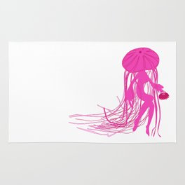 Pink Meanie Jellyfish Pinup Rug