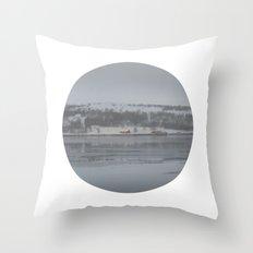 Telescope 6 cabin across the water Throw Pillow