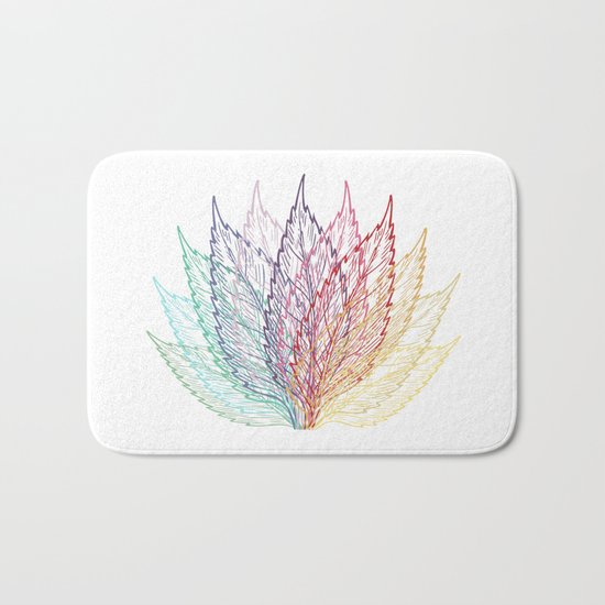 Colourful Layered Leaves Blue Purple Red Yellow Bath Mat