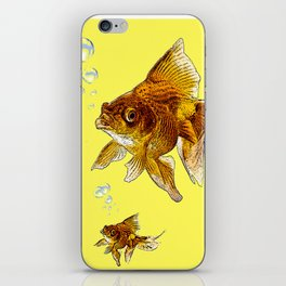 PRIZE WINNING BLACK-GOLDFISH YELLOW ART iPhone Skin