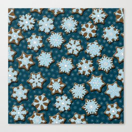 Frosted Gingerbread on Winter Night Sky Canvas Print