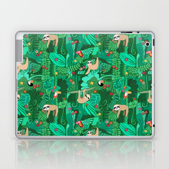 Sloths in the Emerald Jungle Pattern Laptop & iPad Skin