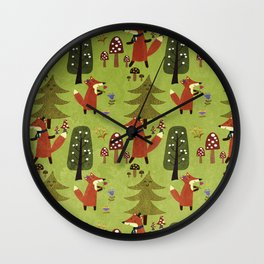 Happy foxes in the forest - Cute Fox Pattern Wall Clock