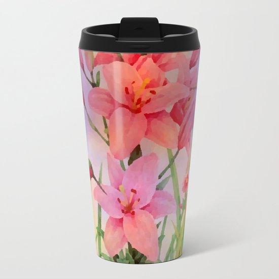 Painterly Hummingbirds And Flowers Metal Travel Mug