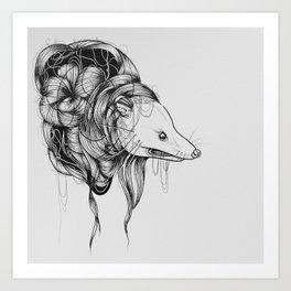 Possum Black Ink Drawing Art Print