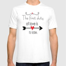 Love is to listen White Mens Fitted Tee SMALL