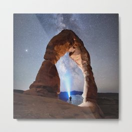 Starry Night Pointer at Milky Way Night sky in Moab Arches National Park  Utah USA  Metal Print