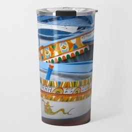 Colorful Boats at Sicily Italy Travel Mug