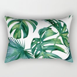 Classic Palm Leaves Tropical Jungle Green Rechteckiges Kissen