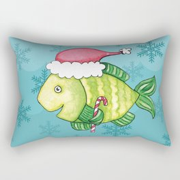 Christmas Santa Fish Rectangular Pillow