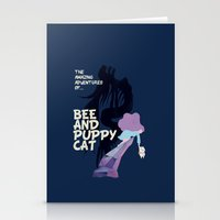 puppycat Stationery Cards featuring bee and puppycat retro movie poster by Eva Puyal