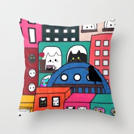 cats and owl apartment604 Throw Pillow