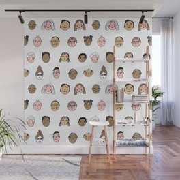 Faces people illustration hand drawn different people all shapes and sizes pattern Wall Mural