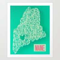 maine Art Prints featuring MAINE by Luck Be The Lulu