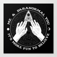 Me & Paranormal You - James Roper Design - Ouija B&W (white lettering) Canvas Print