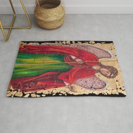 Archangel Gabriel Fresco With A Crackled Finish for #Society6 Rug