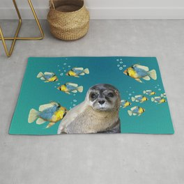 Sea Lion baby with fishes Rug