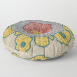 Growing - Pinus#1 - embroidery based on plant cell under the microscope Floor Pillow