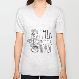 Talk to the Hamsa Unisex V-Neck