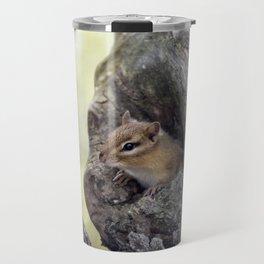 Cute Chipmunk peeks from a tree hole Travel Mug