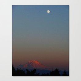 Mount Rainier Moon Rise Canvas Print
