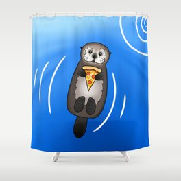 Sea Otter with Pizza Shower Curtain