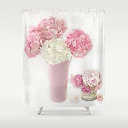 Shabby Chic Pink and White Hydrangeas Floral Print Home Decor Shower Curtain