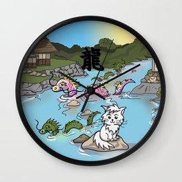 Japanese sea dragons with kanji Wall Clock