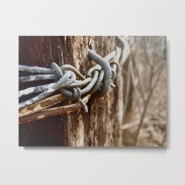 Tangled Barbed Wire Metal Print