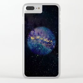 Santa Claus on Milky Way Clear iPhone Case