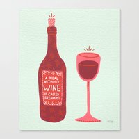 wine Canvas Prints featuring Wine by Cat Coquillette