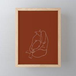 Nude figure line drawing - Pansy Framed Mini Art Print