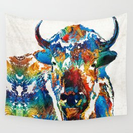 Colorful Buffalo Art - Sacred - By Sharon Cummings Wall Tapestry