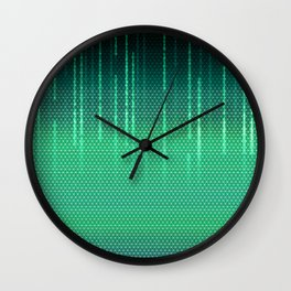 Green Cyber Space Wall Clock