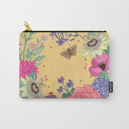 Bright Floral Garland on Yellow Carry-All Pouch