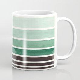 Deep Green Minimalist Watercolor Mid Century Staggered Stripes Rothko Color Block Geometric Art Coffee Mug