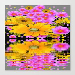 PINK-YELLOW FLORALS REFLECTED WATER ART Canvas Print